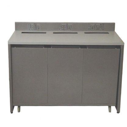 Packtisch Stahl, pulverbeschichtet, beschriftet mit Papier, Folie, Restmüll