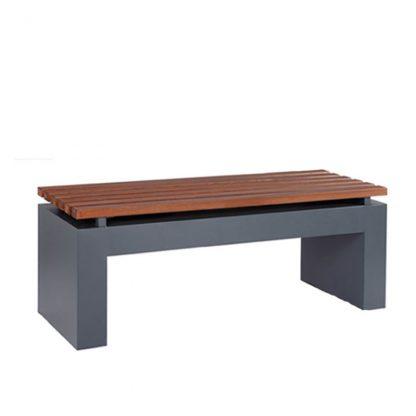 Sitzbank mit Holzlamellenauflage für den Innenbereich, Holzdekor Driftwood