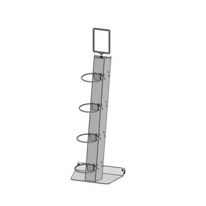 Blumendisplay z.Bsp. Kassenbereich, Basismodell mit 4 Ringhaltern