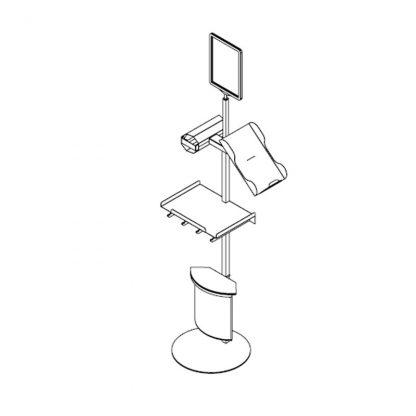 Bodenstativ inkl. 6L Abfallbehälter, Netzdisplayhalter