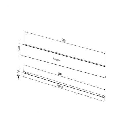 Gestell zur Preisauszeichnung (stabile Ausführung) Verbindungselement Paar 2500 mm (Standardmaß)