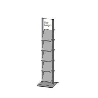 Prospektständer mit 5 offenen Ablagen mit Markt-Logo-Aufkleber
