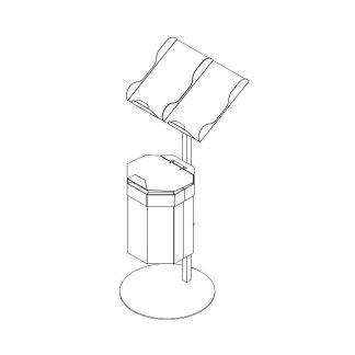 Papiertütenablage mit 20 Liter Abfallbehälter für O+G Abteilung
