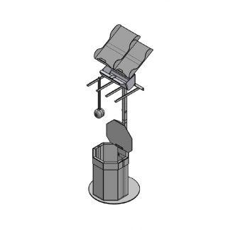 Papiertütenablage mit 20 Liter Abfallbehälter, 1x Beutelwanne und 4 Stangen für Mehrwegnetze