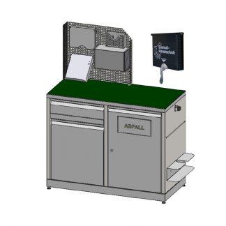 Waagetisch kompakt mit hälftiger Lochblechrückwand inklusive Abfallsammler