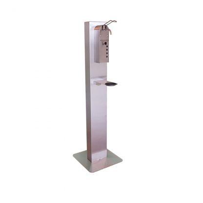 Ständer mit manuellem Hygienespender inklusive 1x Leerkartusche für Hygieneflüssigkeit - Edelstahl